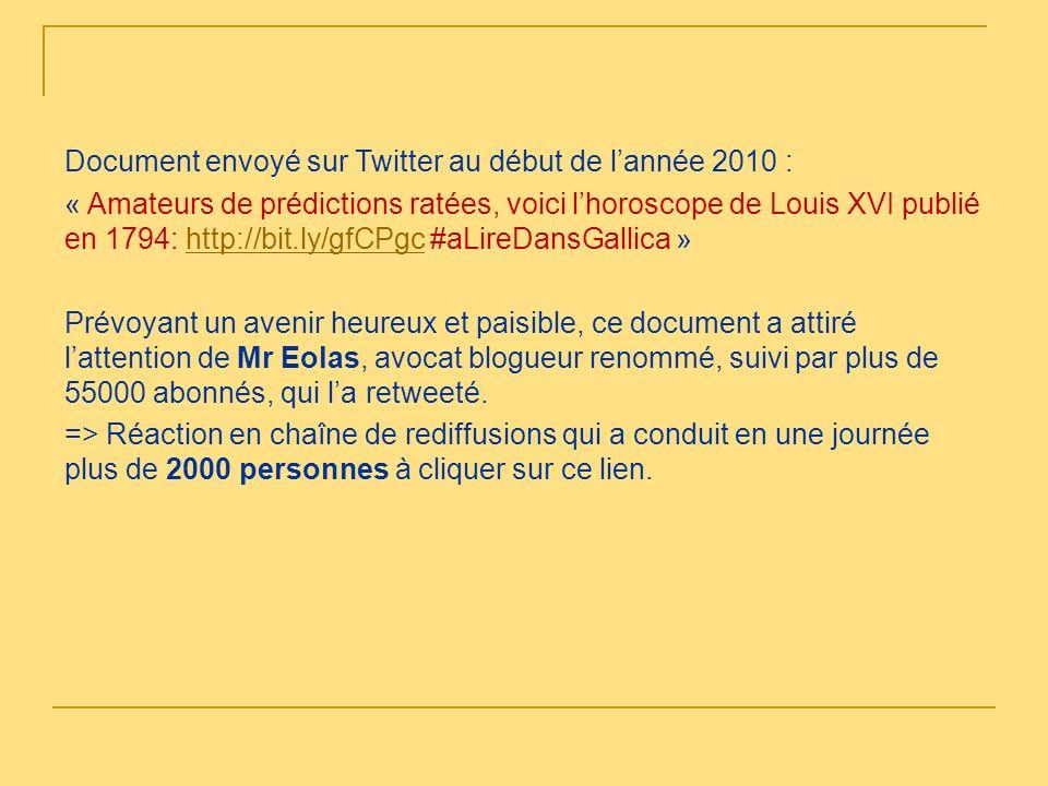 Document envoyé sur Twitter au début de l'année 2010 : « Amateurs de prédictions ratées, voici l'horoscope de Louis XVI publié en 1794: http://bit.ly/gfCPgc #aLireDansGallica » Prévoyant un avenir heureux et paisible, ce document a attiré l'attention de Mr Eolas, avocat blogueur renommé, suivi par plus de 55000 abonnés, qui l'a retweeté.