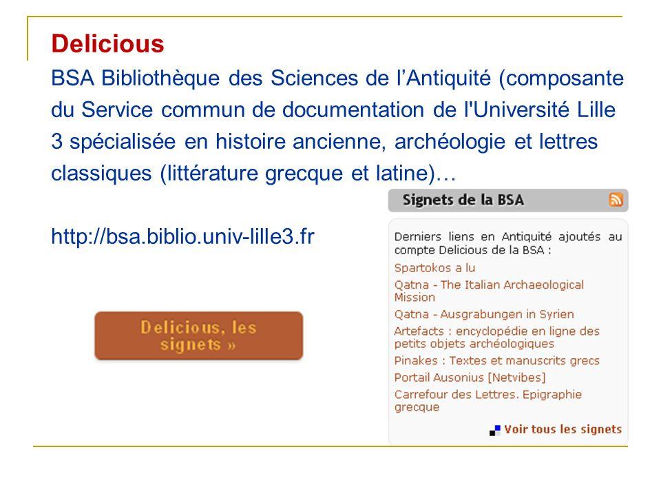Delicious BSA Bibliothèque des Sciences de l'Antiquité (composante