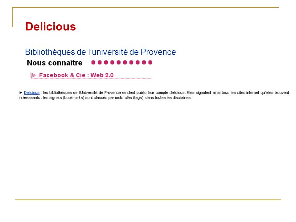 Delicious Bibliothèques de l'université de Provence