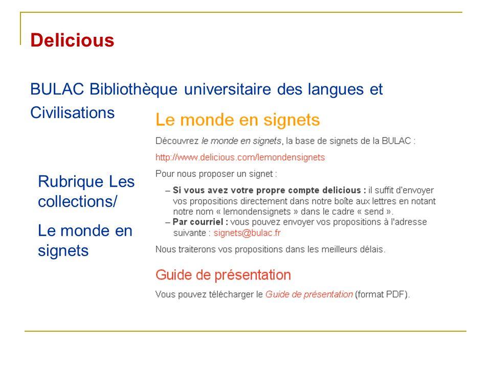 Delicious BULAC Bibliothèque universitaire des langues et