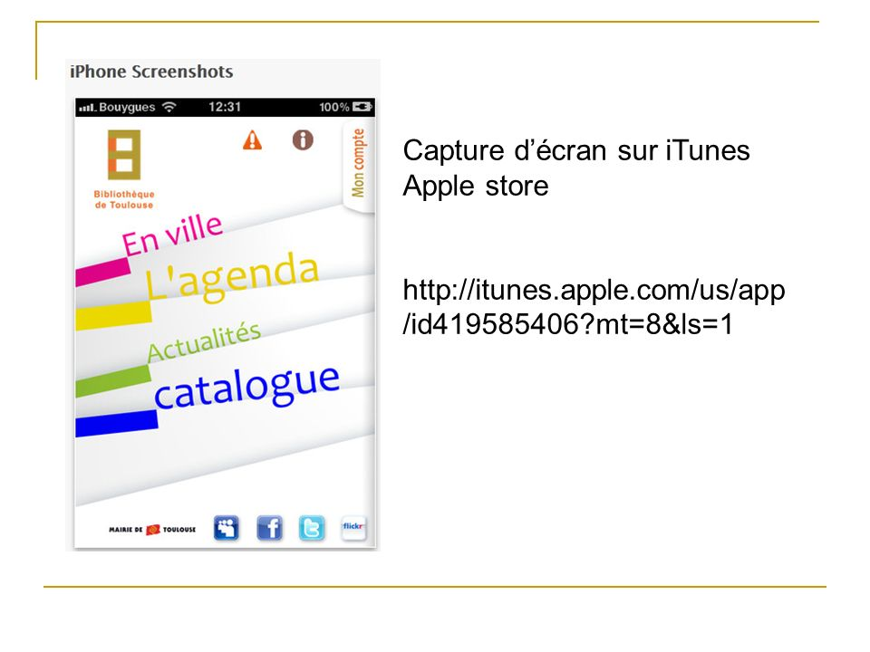 Capture d'écran sur iTunes Apple store