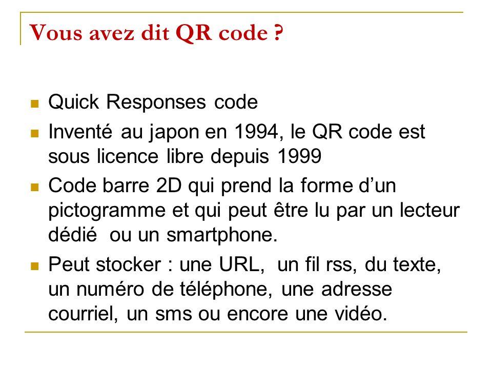 Vous avez dit QR code Quick Responses code