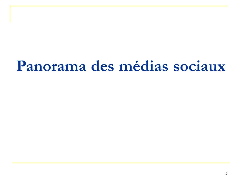 Panorama des médias sociaux