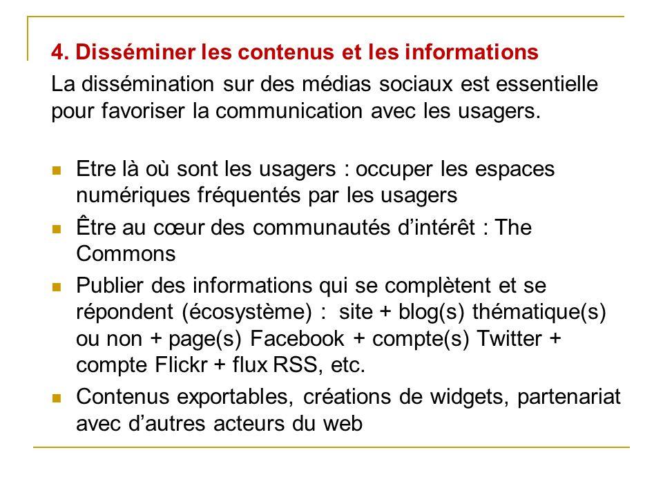 4. Disséminer les contenus et les informations