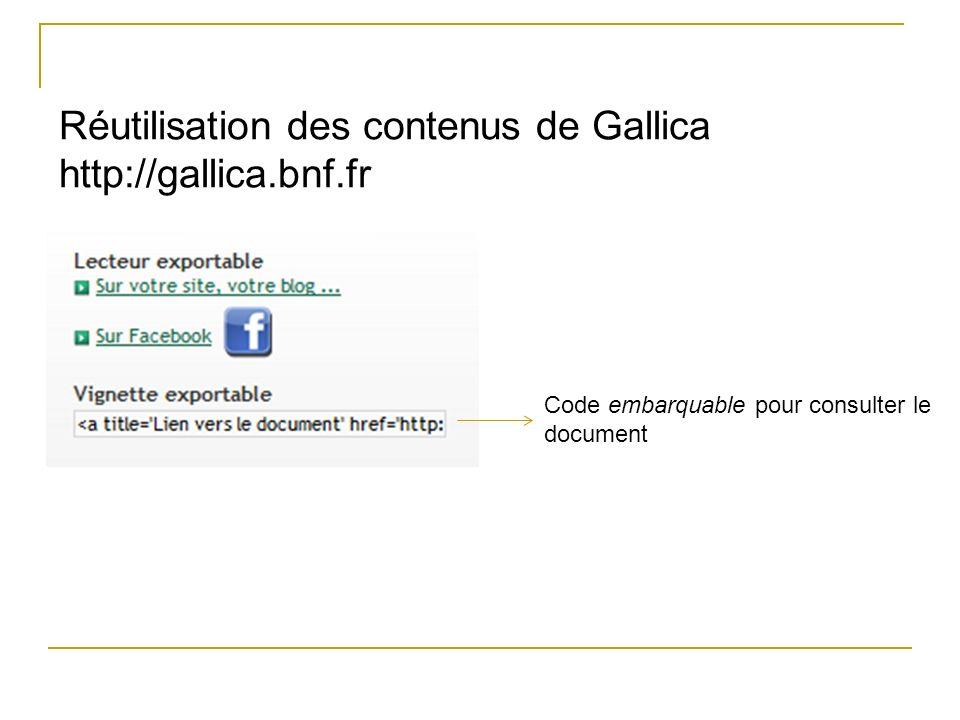 Réutilisation des contenus de Gallica http://gallica.bnf.fr