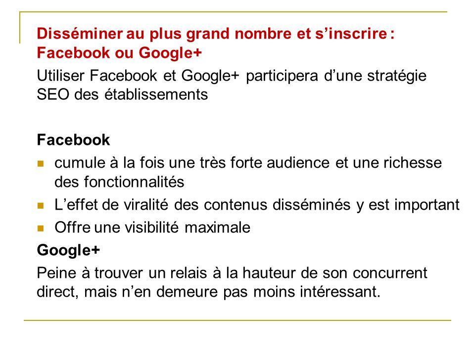 Disséminer au plus grand nombre et s'inscrire : Facebook ou Google+