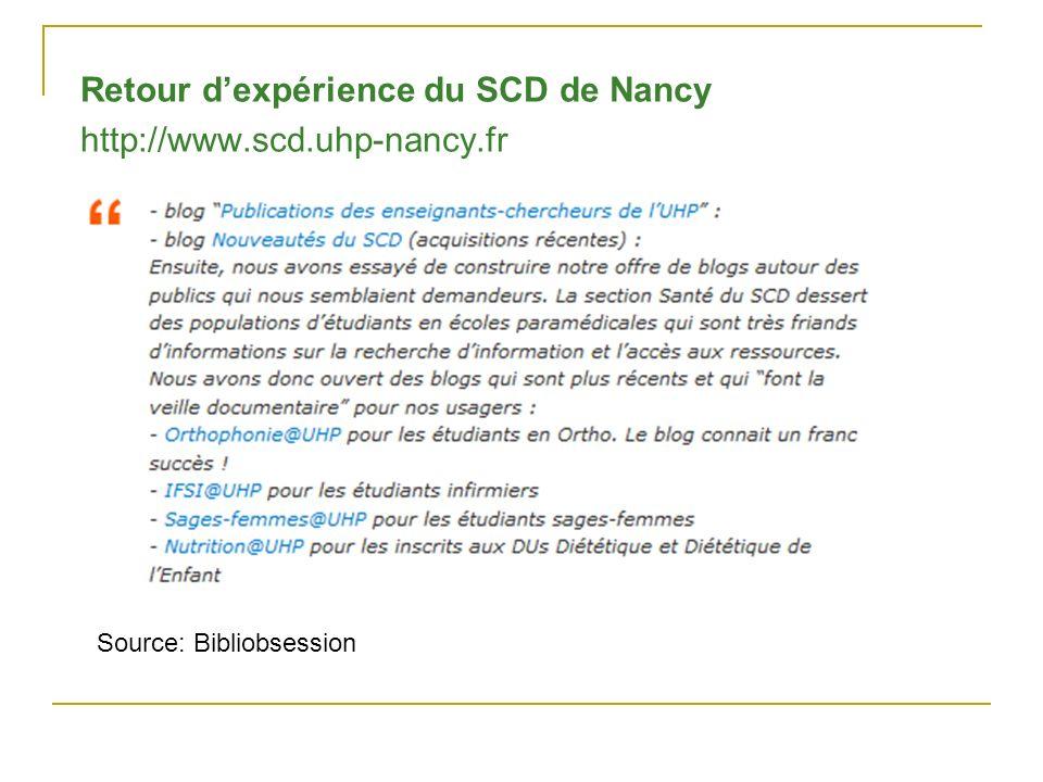 Retour d'expérience du SCD de Nancy http://www.scd.uhp-nancy.fr