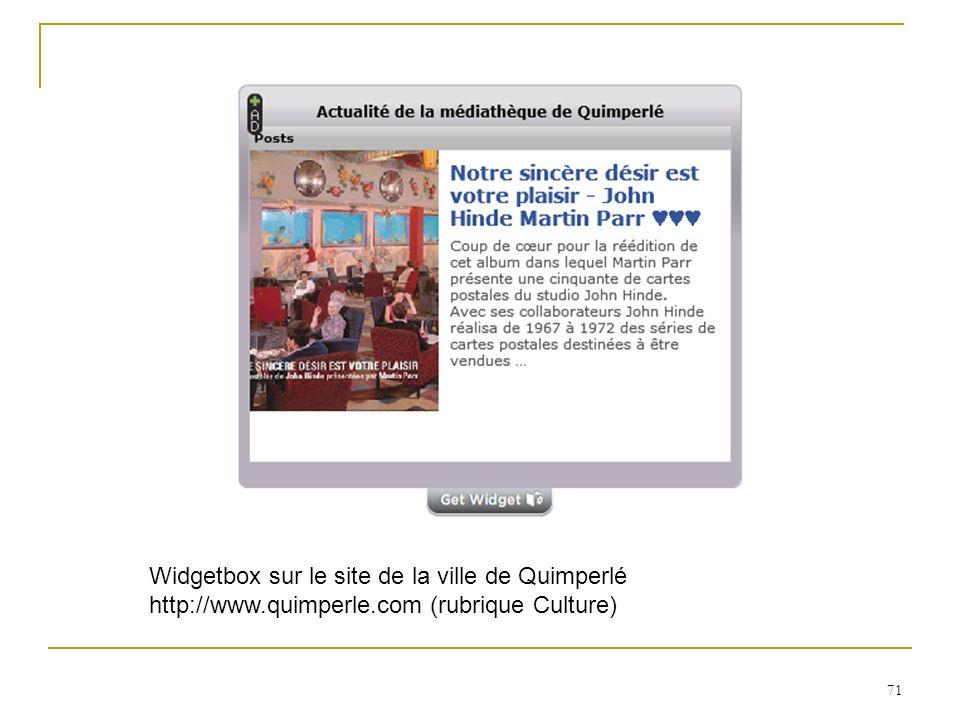 Widgetbox sur le site de la ville de Quimperlé http://www. quimperle