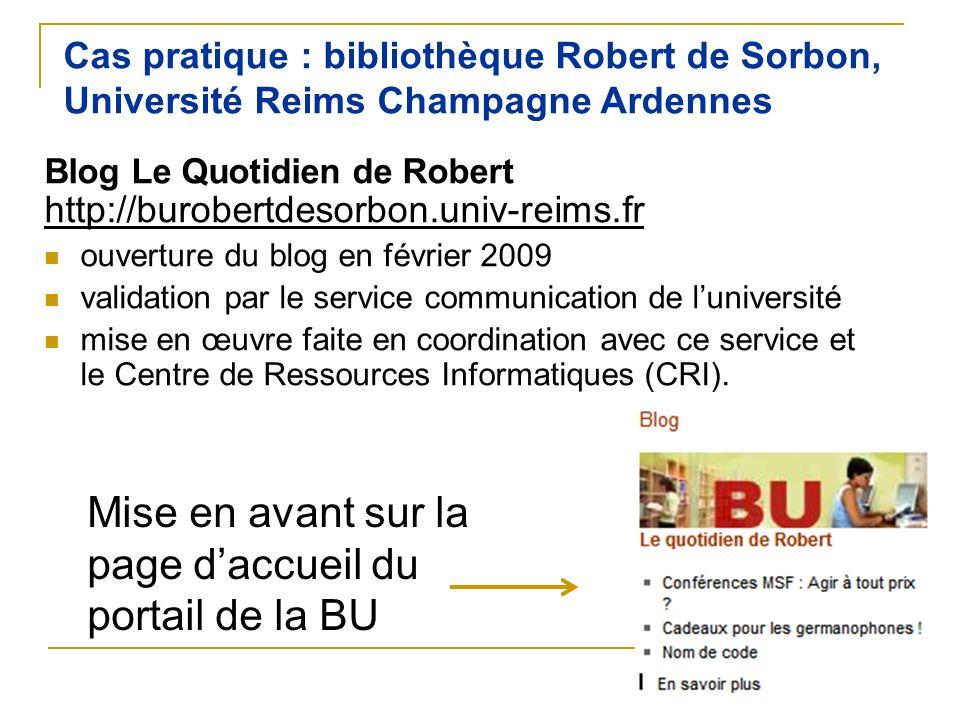 Mise en avant sur la page d'accueil du portail de la BU