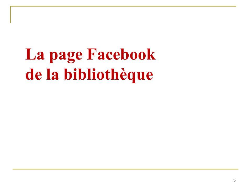 La page Facebook de la bibliothèque