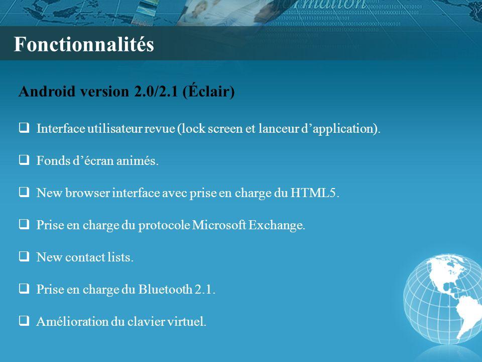 Fonctionnalités Android version 2.0/2.1 (Éclair)