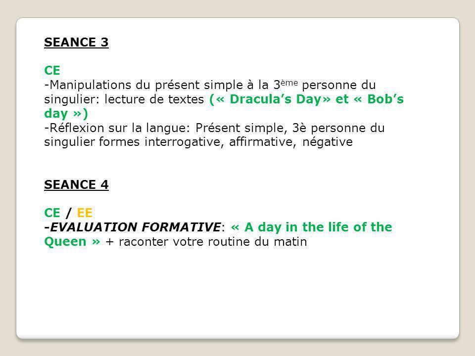 SEANCE 3 CE. -Manipulations du présent simple à la 3ème personne du singulier: lecture de textes (« Dracula's Day» et « Bob's day »)