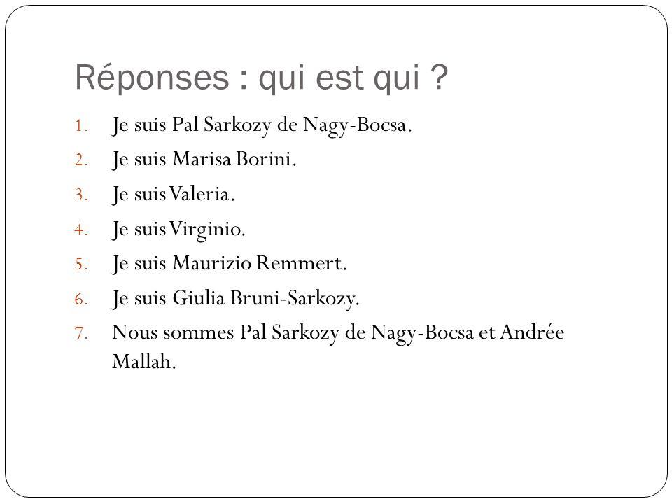 Réponses : qui est qui Je suis Pal Sarkozy de Nagy-Bocsa.