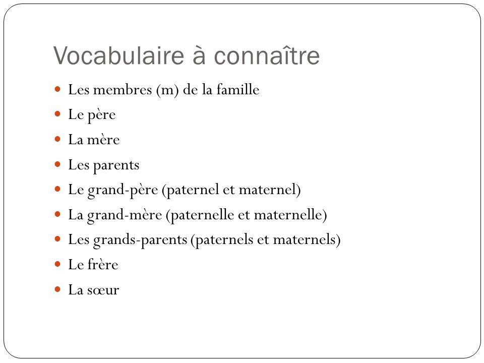 Vocabulaire à connaître