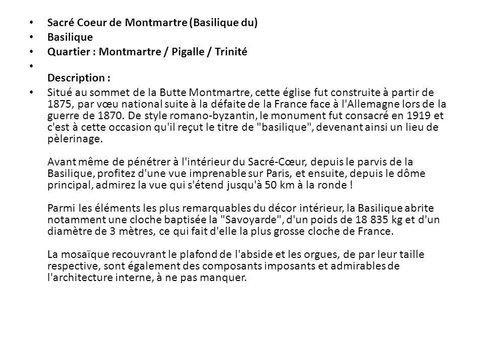 Sacré Coeur de Montmartre (Basilique du)
