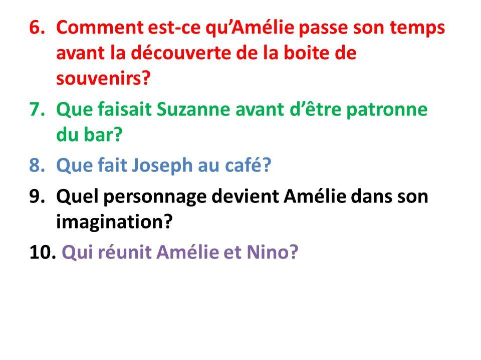Comment est-ce qu'Amélie passe son temps avant la découverte de la boite de souvenirs