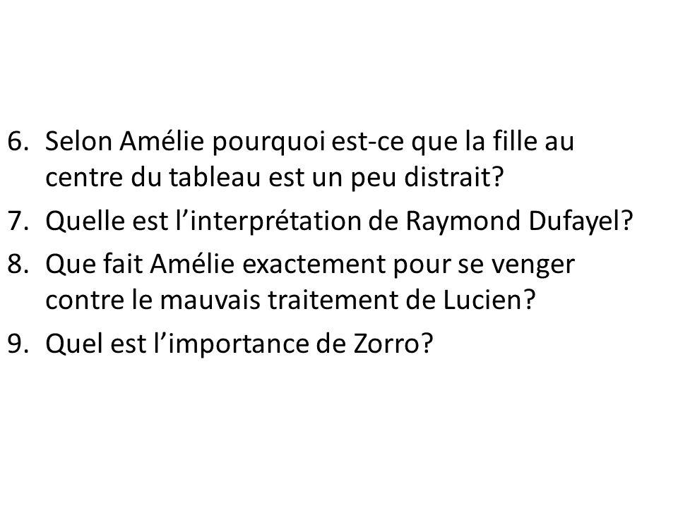 Selon Amélie pourquoi est-ce que la fille au centre du tableau est un peu distrait