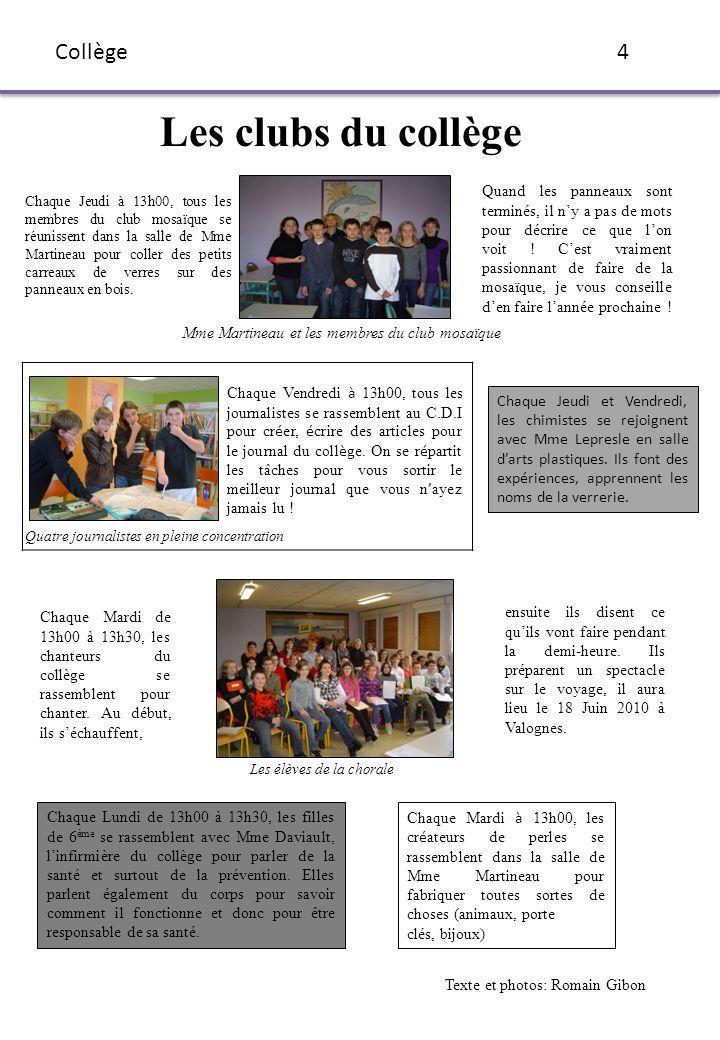Les clubs du collège Collège 4
