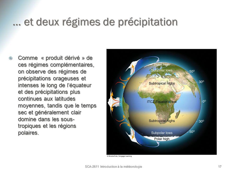 … et deux régimes de précipitation