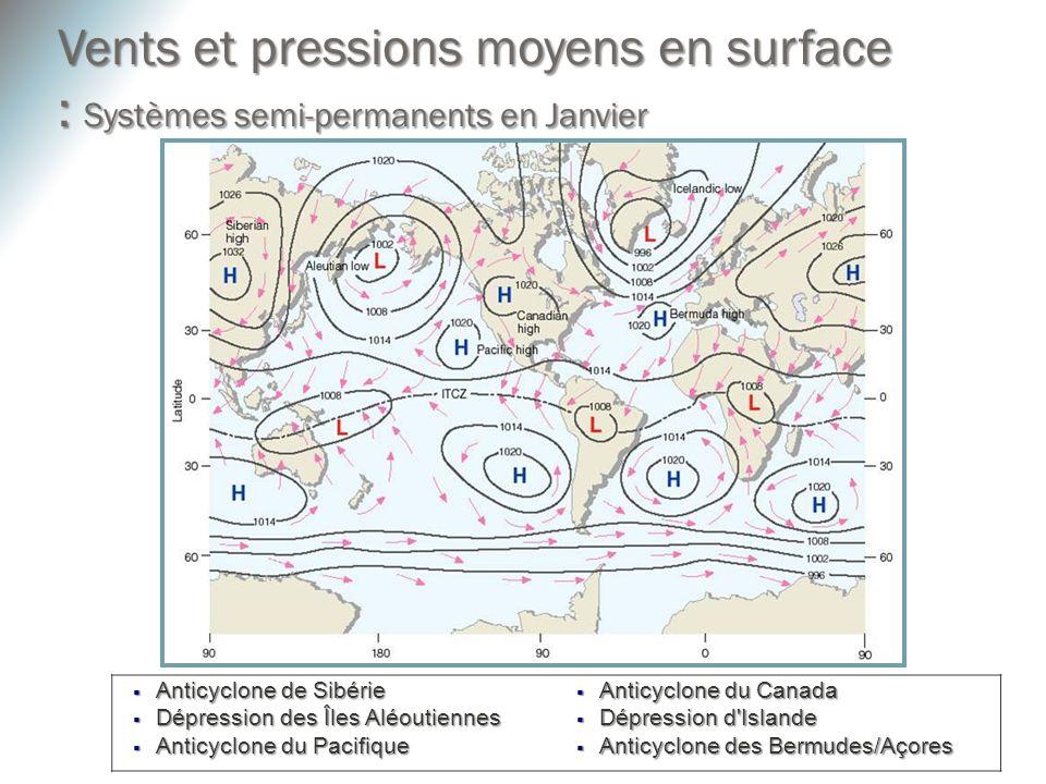 Vents et pressions moyens en surface : Systèmes semi-permanents en Janvier