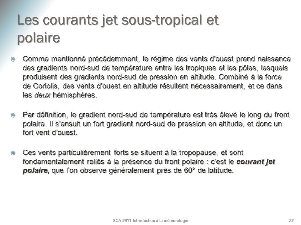 Les courants jet sous-tropical et polaire