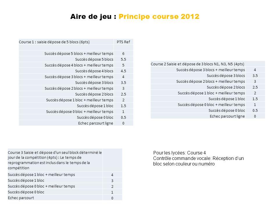 Aire de jeu : Principe course 2012