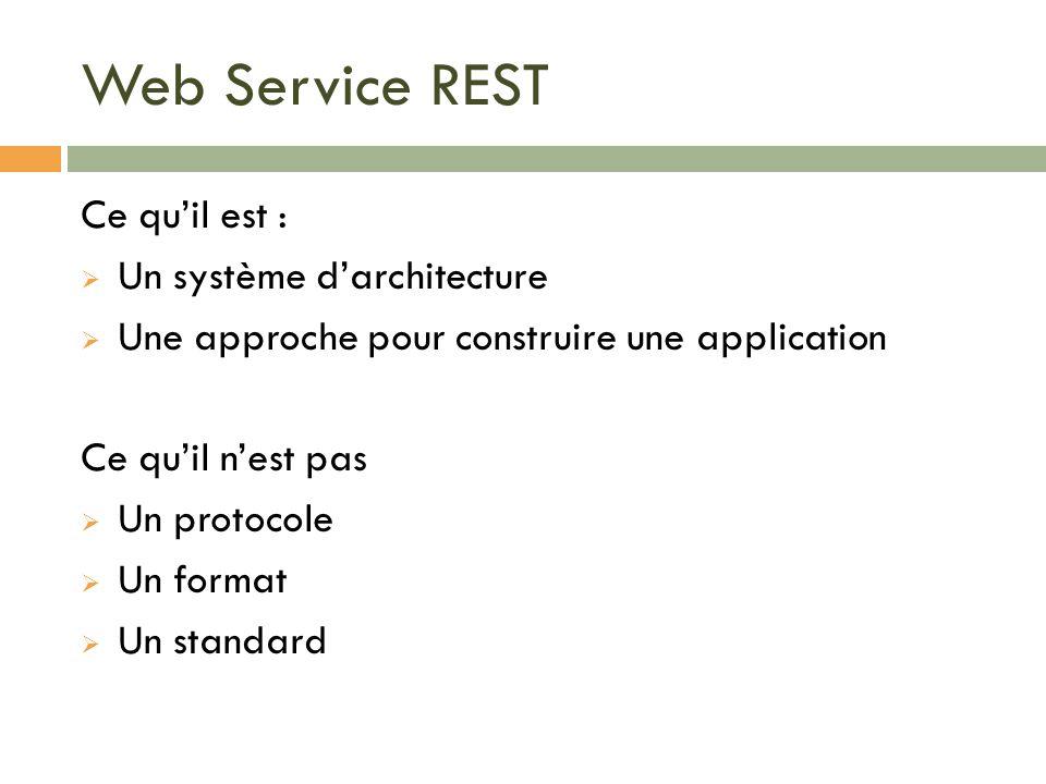 Web Service REST Ce qu'il est : Un système d'architecture