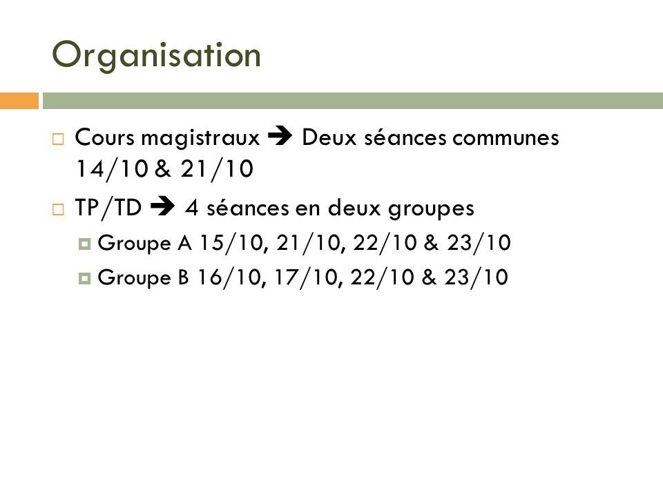 Organisation Cours magistraux  Deux séances communes 14/10 & 21/10