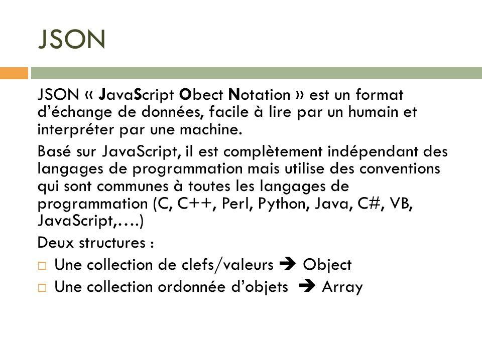 JSON JSON « JavaScript Obect Notation » est un format d'échange de données, facile à lire par un humain et interpréter par une machine.