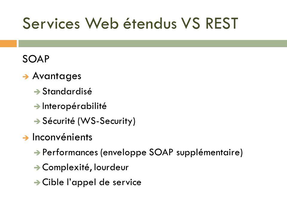 Services Web étendus VS REST