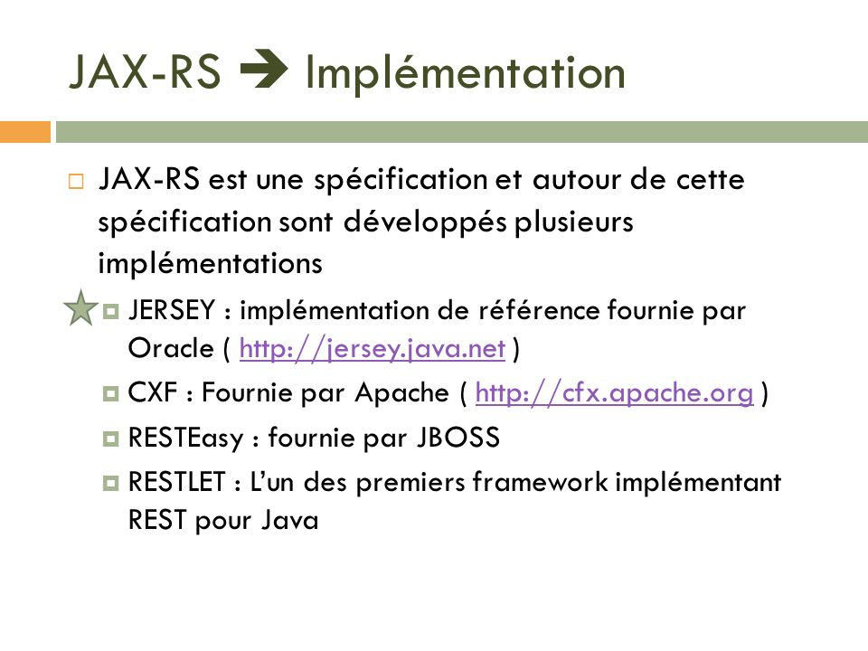JAX-RS  Implémentation