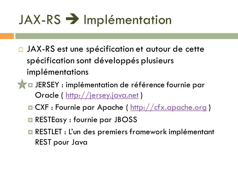 JAX-RS  Implémentation