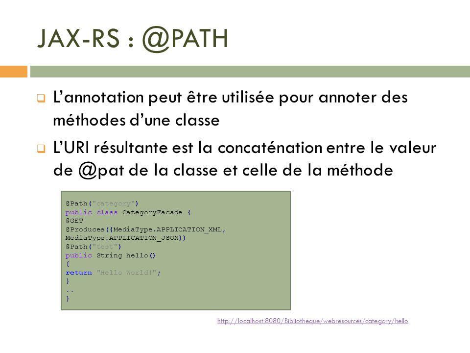 JAX-RS : @PATH L'annotation peut être utilisée pour annoter des méthodes d'une classe.