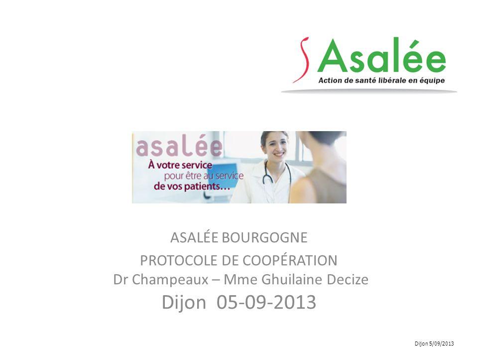 ASALÉE BOURGOGNE PROTOCOLE DE COOPÉRATION Dr Champeaux – Mme Ghuilaine Decize Dijon 05-09-2013.