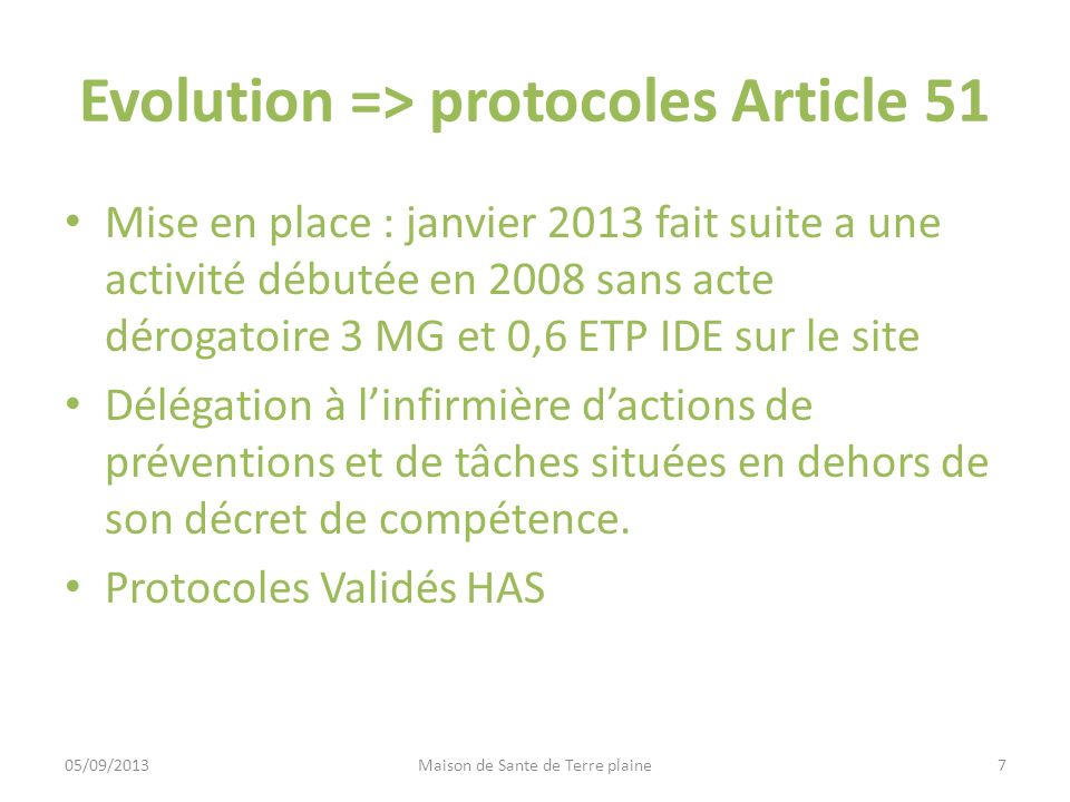 Evolution => protocoles Article 51