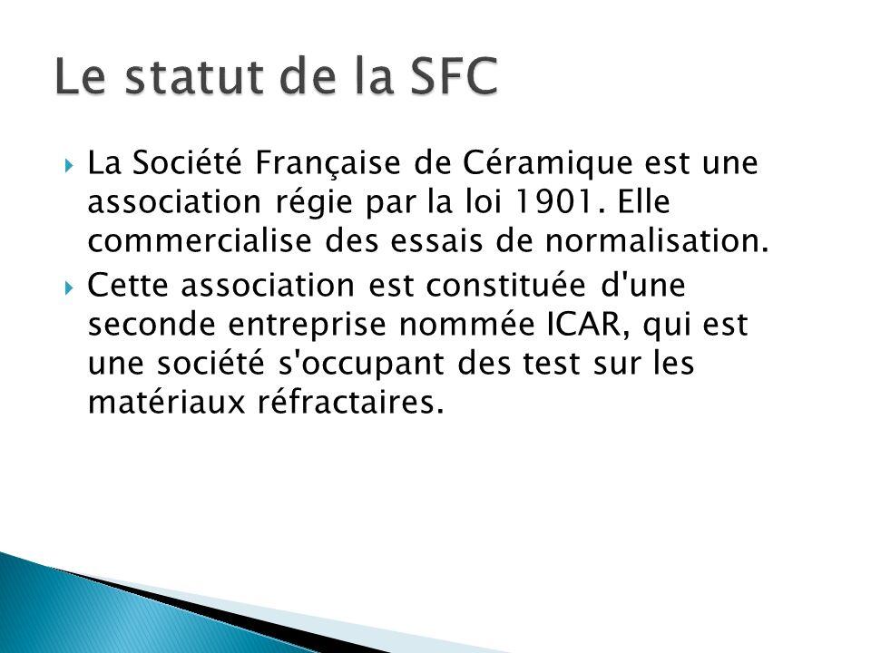 Le statut de la SFC La Société Française de Céramique est une association régie par la loi 1901. Elle commercialise des essais de normalisation.