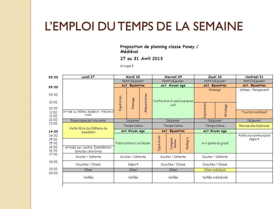 L'EMPLOI DU TEMPS DE LA SEMAINE