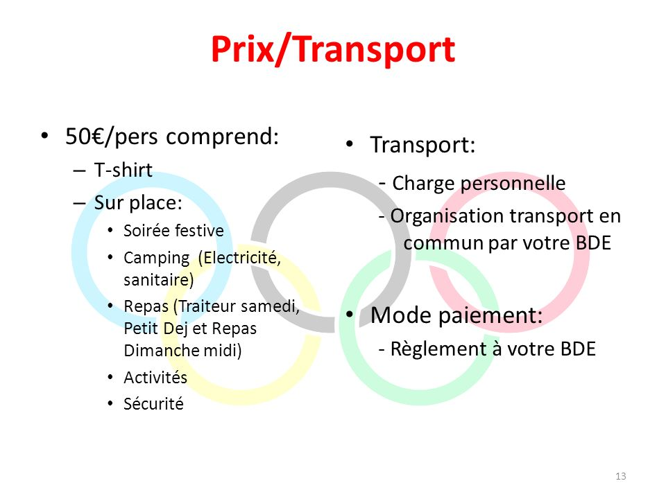 Prix/Transport 50€/pers comprend: Transport: - Charge personnelle