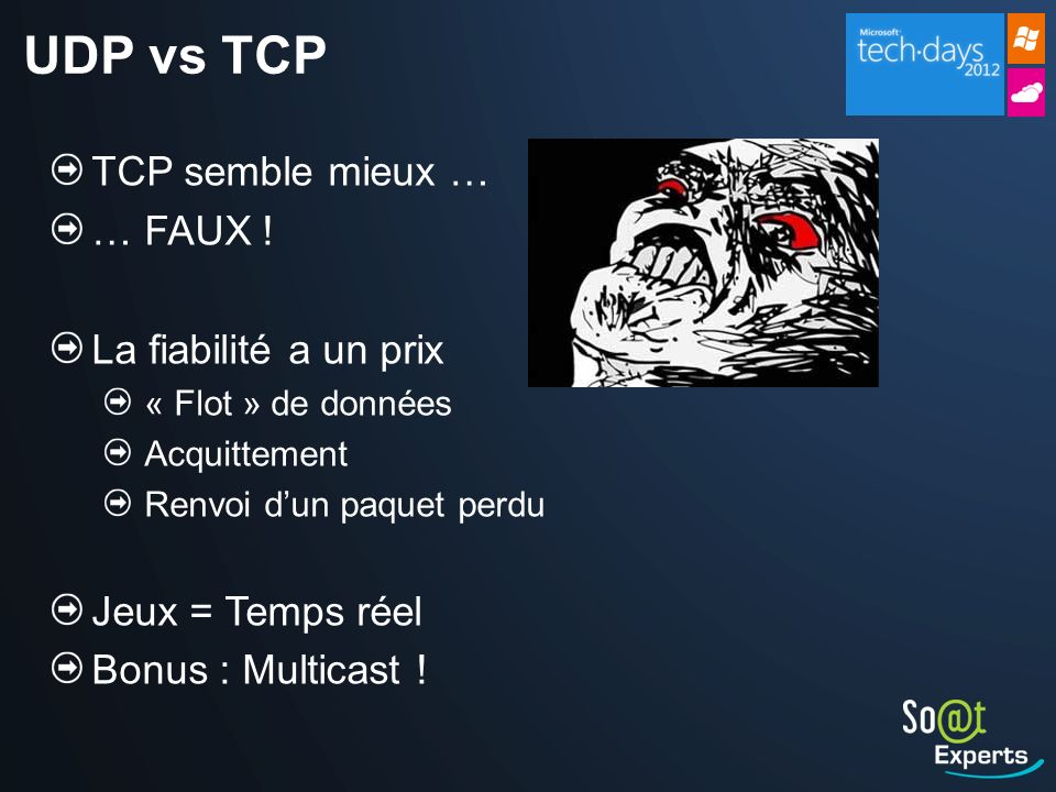 UDP vs TCP TCP semble mieux … … FAUX ! La fiabilité a un prix