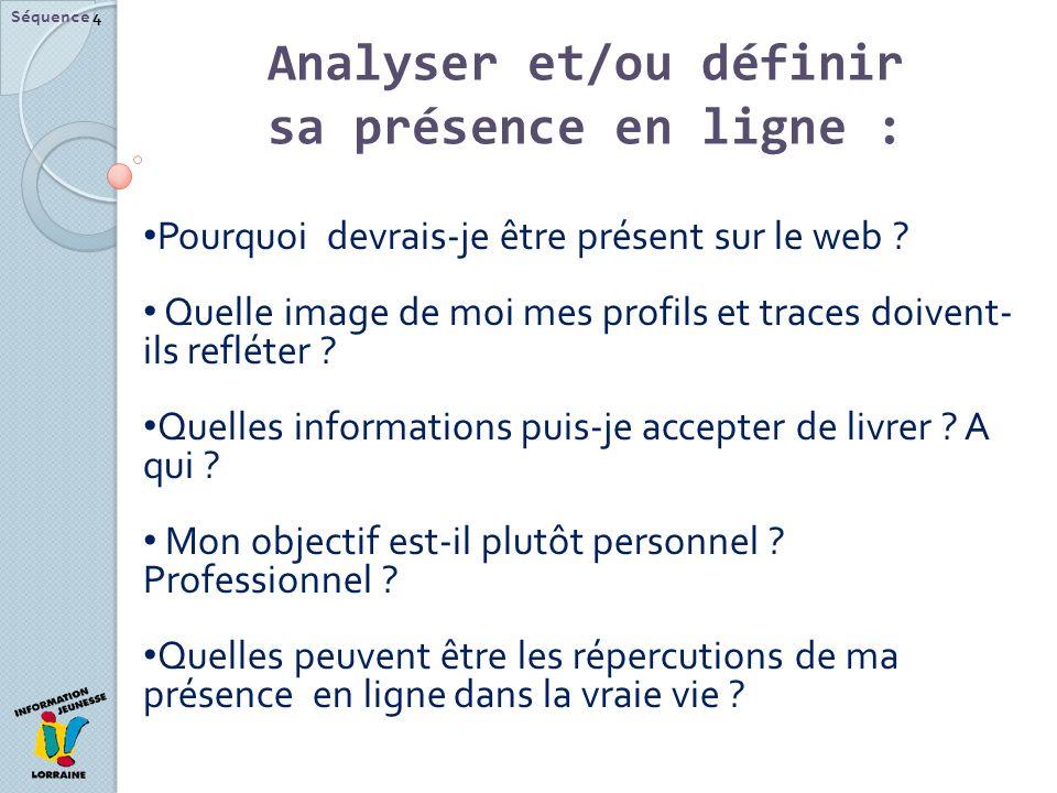 Analyser et/ou définir sa présence en ligne :