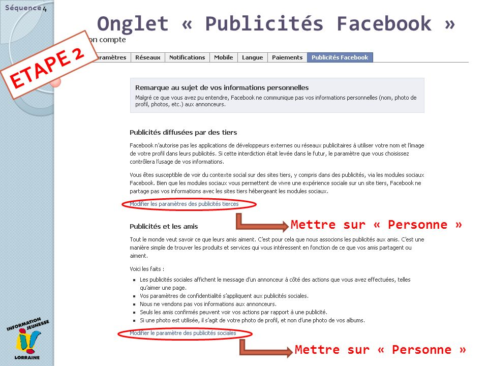 Onglet « Publicités Facebook »