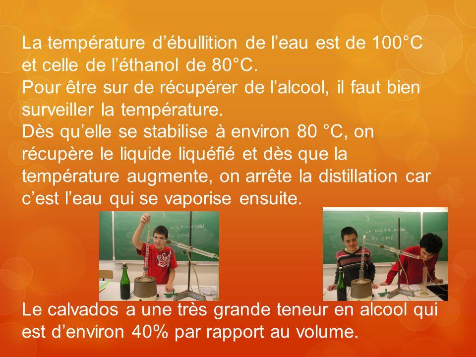 La température d'ébullition de l'eau est de 100°C et celle de l'éthanol de 80°C.
