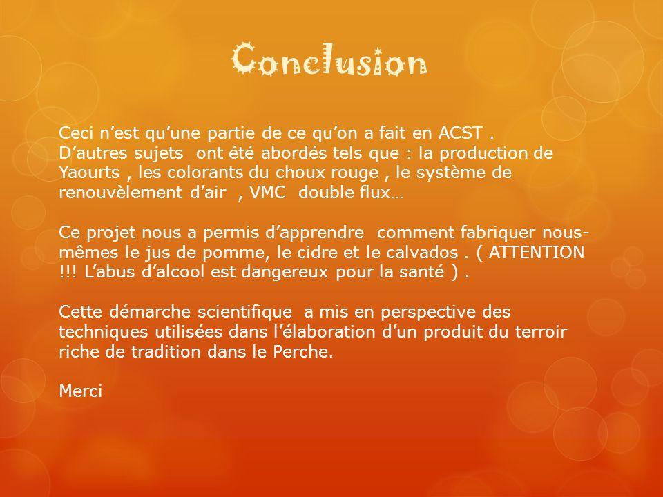 Conclusion Ceci n'est qu'une partie de ce qu'on a fait en ACST .