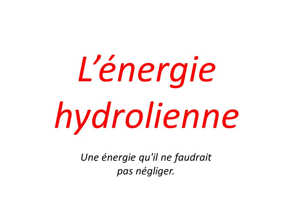 L'énergie hydrolienne