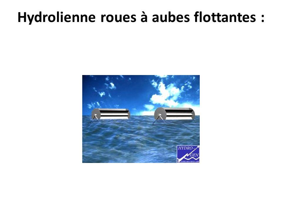 Hydrolienne roues à aubes flottantes :