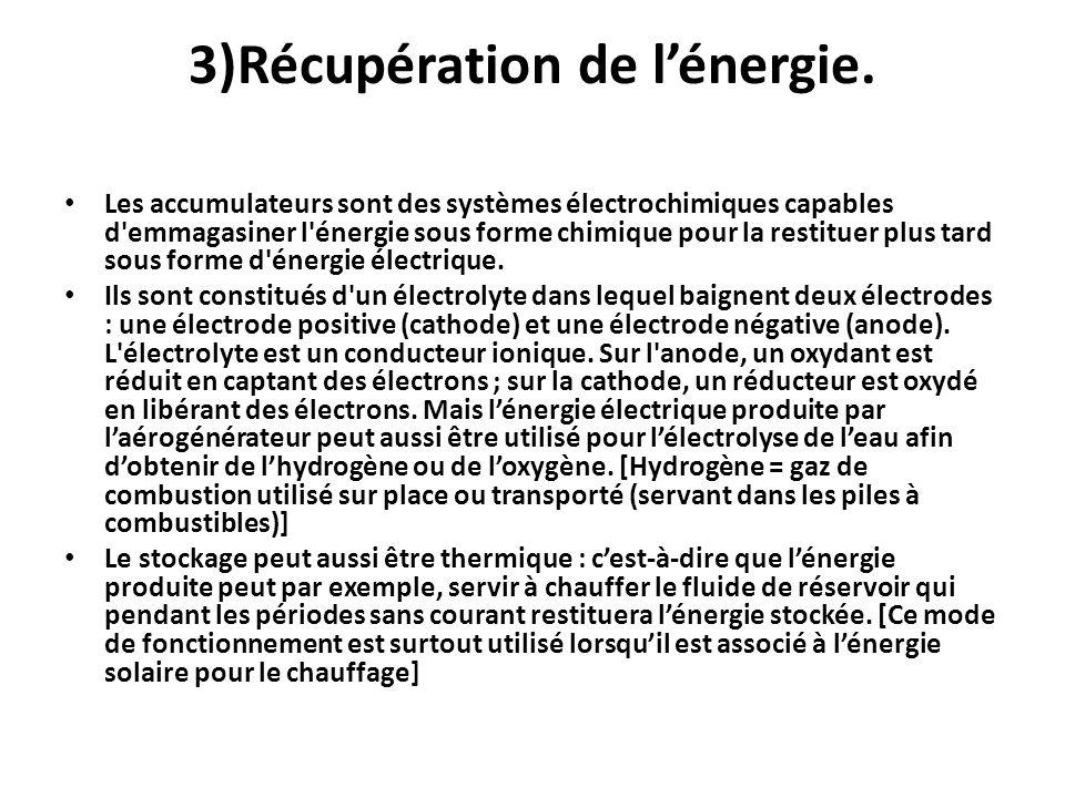 3)Récupération de l'énergie.