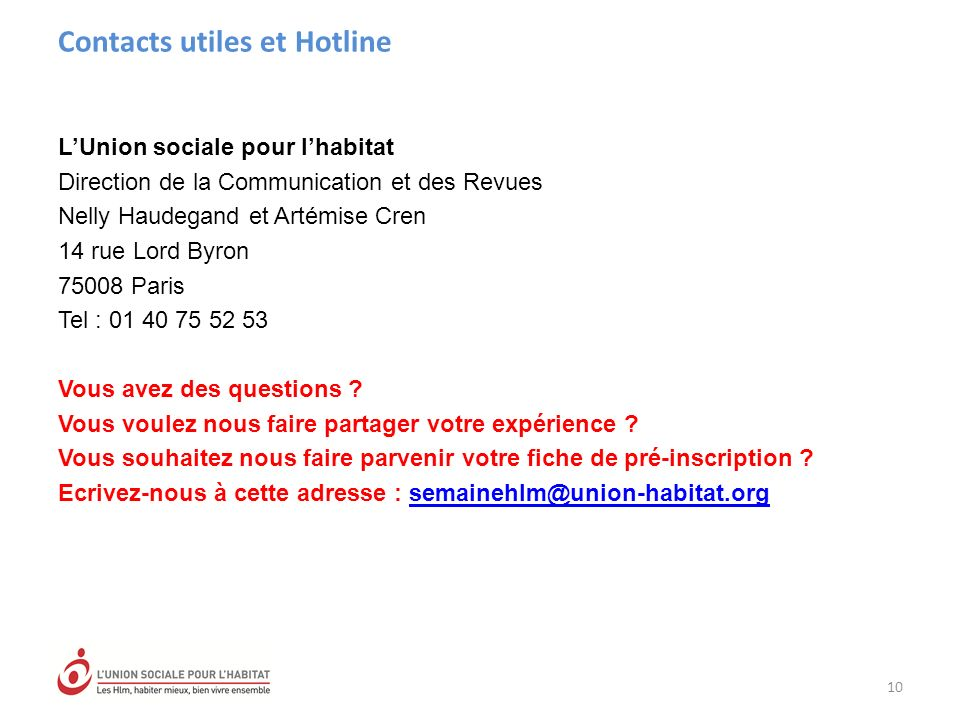 Contacts utiles et Hotline