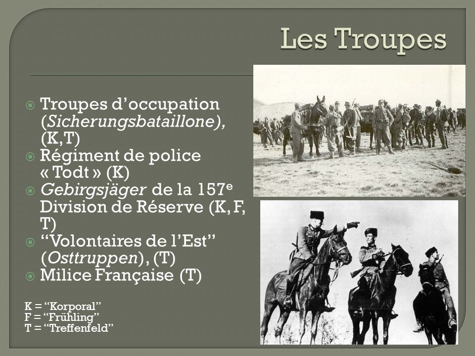 Les Troupes Troupes d'occupation (Sicherungsbataillone), (K,T)