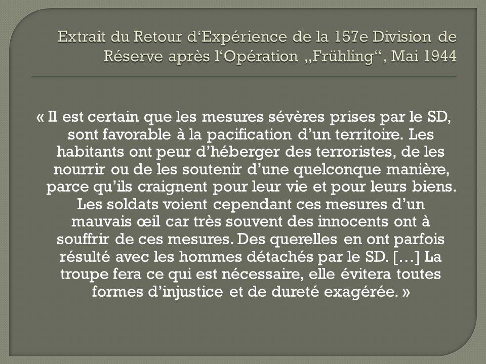 """Extrait du Retour d'Expérience de la 157e Division de Réserve après l'Opération """"Frühling , Mai 1944"""