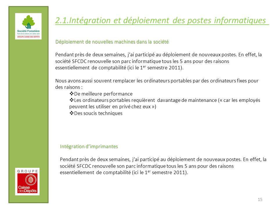 2.1.Intégration et déploiement des postes informatiques